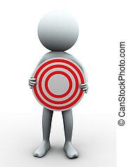 3d man holding target