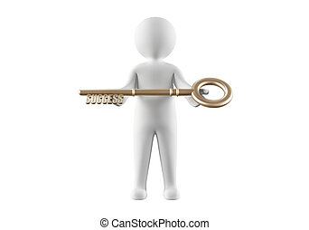 3D man holding the key to success