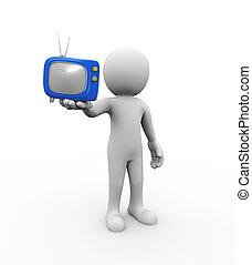 3d man holding tv on hand