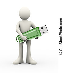 3d man holding usb flash drive