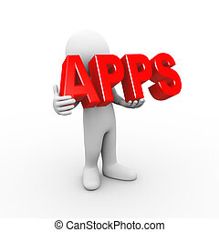 3d man holding word apps