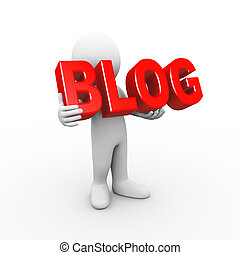 3d man holding word blog