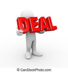 3d man holding word deal