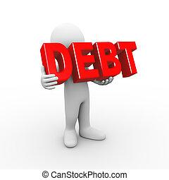3d man holding word debt