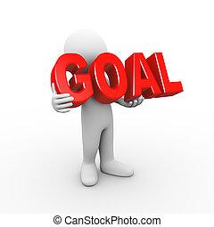 3d man holding word goal