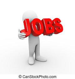 3d man holding word jobs