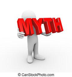 3d man holding word myth