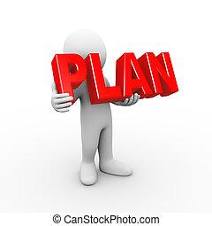 3d man holding word plan
