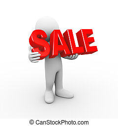 3d man holding word sale