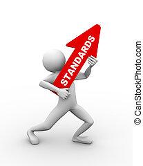 3d man holding word text standard