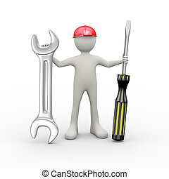 3d man holding wrench and screwdriver