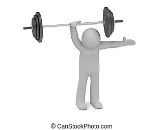 3d man holds up a heavy barbell