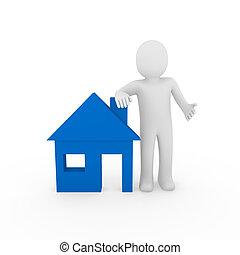 3d man house blue