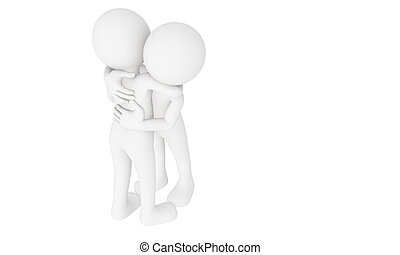 3d man hug with love
