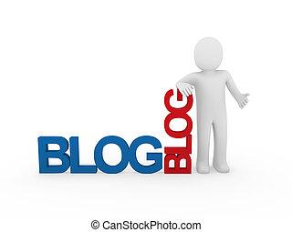 3d man human blog red blue