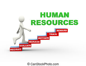 3d man human resources word steps - 3d illustration of man...