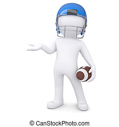 3d man in a football helmet