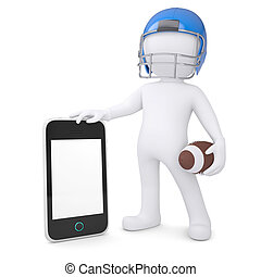 3d man in a football helmet holds smartphone