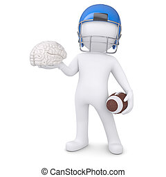 3d man in a football helmet keeps the brain