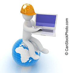 3d man in a hard hat sitting on earth and working at his laptop