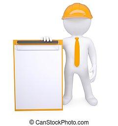 3d man in a helmet holding a clipboard