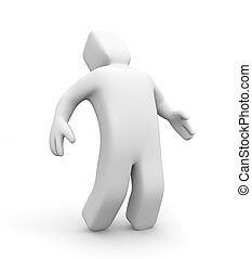 3D man in a posture of suffering. 3d illustration