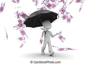3d man in a rain of money