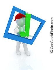 3d man in a red peaked cap with thumb up and a huge tick