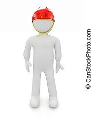 3d man in bicycle helmet