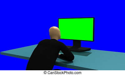 3d-man in front of a desktop