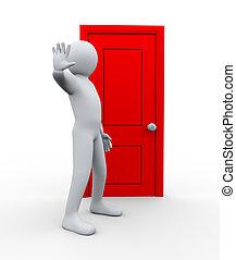 3d man in front of door to stop
