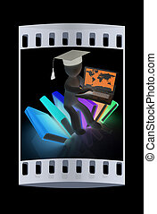 3d man in graduation hat sitting on books and working at his laptop. The film strip
