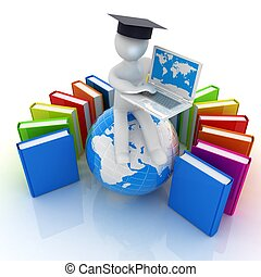 3d man in graduation hat sitting on earth and working at his...