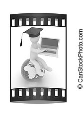 3d man in graduation hat sitting on earth and working at his laptop. The film strip