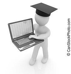 3d man in graduation hat with laptop