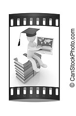 3d man in graduation hat with laptop sits on a colorful glossy boks. The film strip