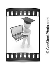 3d man in graduation hat with laptop. The film strip
