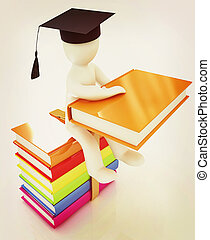 3d man in graduation hat with useful books sits on a colorful glossy boks . 3D illustration. Vintage style.