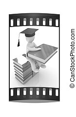 3d man in graduation hat with useful books sits on a colorful glossy boks. The film strip