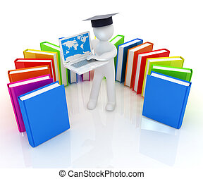 3d man in graduation hat working at his laptop and books on...
