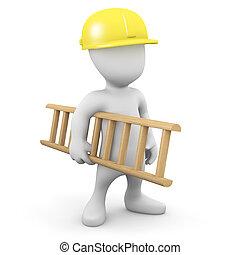 3d Man in hard hat carrying ladder - 3d render of a little...
