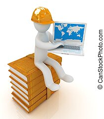 3d man in hard hat sitting on books and working at his...