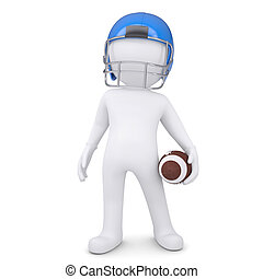 3d man in helmet holding football