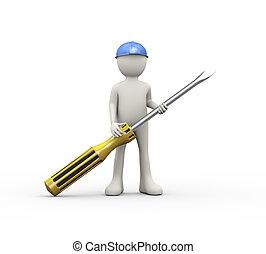 3d man in helmet holding screwdriver