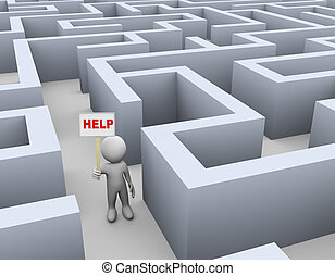 3d man in maze calling for help