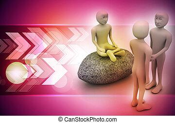 3d man in meditation