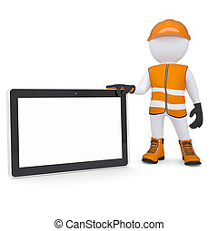 3d man in overalls holding tablet