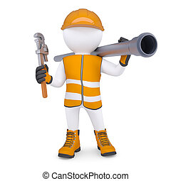 3d white man in overalls with a screwdriver and sewer pipe. Isolated render on a white background