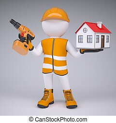 3d man in overalls with screwdriver and house