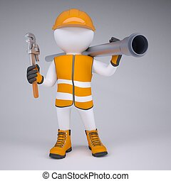 3d white man in overalls with a screwdriver and sewer pipe. Render on studio